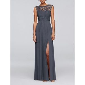 Long Bridesmaid Dress w/Lace Bodice | Pewter | 8